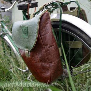skórzane sakwy na rower zieleń i brąz, sakwa, rower, pannier, bicycle, leather