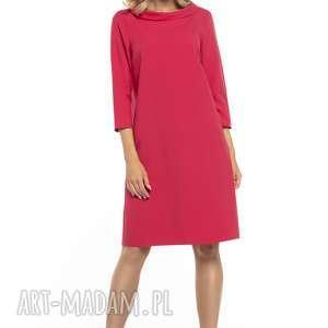 elegancka sukienka z kołnierzem w stylu jackie kennedy, t245, czerwony