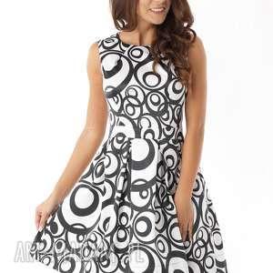 Sukienka kontrafałda czarno-białe wzory sukienki ella dora