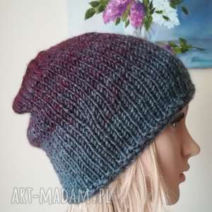 czapki bordo w szarościach czapka, rękodzieło, dziergana, bezszwowa, czapka