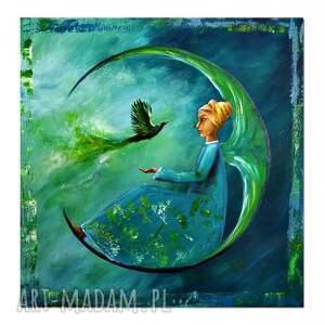 anioł wiadomość z domu, oryginalny obraz ręcznie malowany, obraz