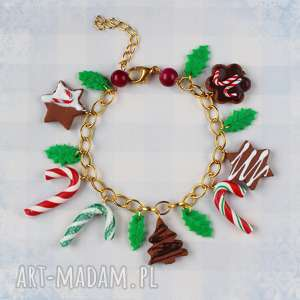 świąteczna bransoletka cukierki laski pierniki, bransoletka, świąteczna, święta