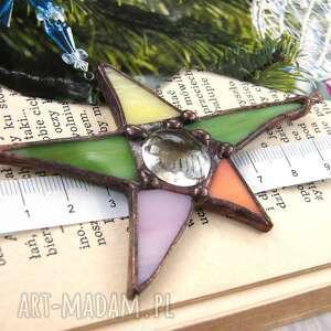 Upominek: Kartka świąteczna 3d z witrażową gwiazdką pastelową