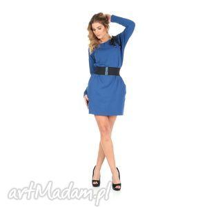 45-sukienka z kokardą,c.niebieska,rękaw długi,pasek , lalu, sukienka, dzianina