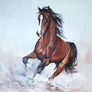 Prezent Obraz - Koń w biegu akryl na płótnie, obraz, akrylowy, ręcznie, malowany