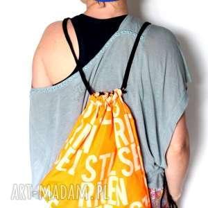 Duży plecak na lato ruda klara plecak, worek, mama, literki