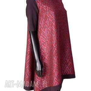 wełniana bordowo różowa sukienka we wzór, wełniana, aztec sukienki