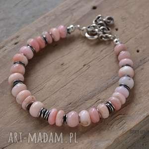 różowy peruwiański opal - bransoletka, srebro, srebrna, opal