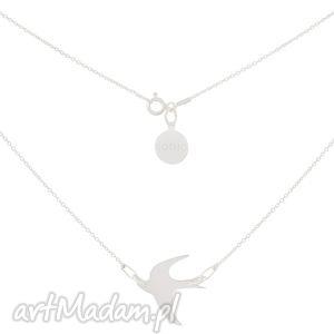 hand made naszyjniki srebrny modowy naszyjnik łańcuszkowy z jaskółką srebro