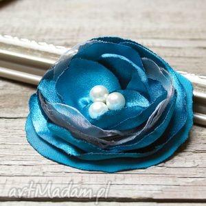handmade broszki turkusowa broszka, kwiatek, przypinka