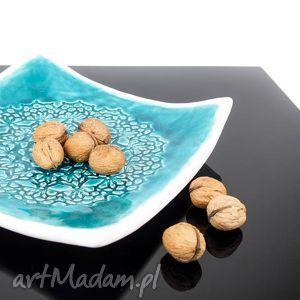 artlantyda koronkowa patera biel i turkus, ceramika, patera, talerz