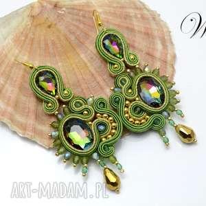 Kolczyki sutasz zielono złote wdart kolczyki, sutasz, eleganckie