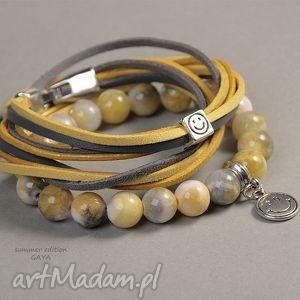 bransoletki yellow grey - jadeit, zawieszki, kule, rzemienie, prezent, posrebrzane bi 380 uteria