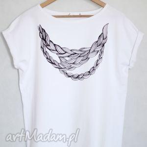 WARKOCZ koszulka bawełniana biała S/M, koszulka, bawełniana, nadruk, warkocz, bluzka