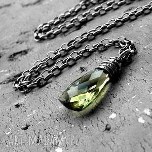 Naszyjnik kropla - srebro i kwarc oliwkowy naszyjniki cocopunk