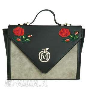 na ramię manzana sztywna teczka listonoszka siwa róże, torebka, torebki