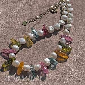 naszyjniki perła i kwarc, perły naturalne, kolorowe naszyjniki