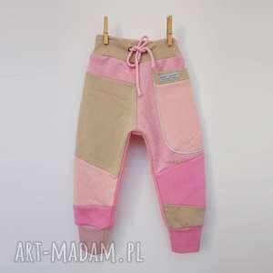 ręcznie wykonane patch pants spodnie 110 - 152 cm różowe
