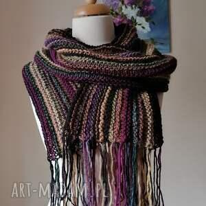 szaliki autorski, oryginalny boho szal, rękodzieło, szal na drutach