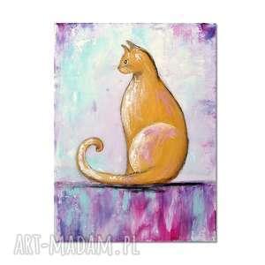 kot viola, obraz ręcznie malowany, kot, obraz, ręcznie, prezent, dekoracja