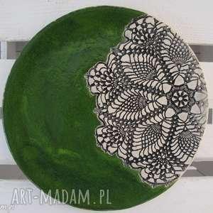 zielona patera z koronką dla pani anny, ceramiczna, patera, koronkowa