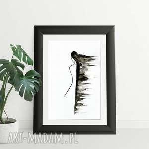 dom akt kobieta, grafika 30x40 cm wykonana ręcznie, abstrakcja, elegancki minimalizm