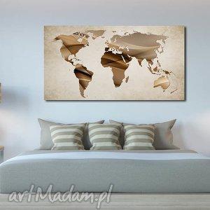 obraz mapa świata -dms7 - 120x70cm na płótnie, mapa, świata, beż, brąz