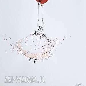 Praca akwarelą i piórkiem LATAM SOBIE artystki plastyka Adriany Laube, latać, rysunek