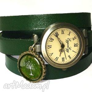 handmade zegarki drzewo gondoru - zegarek/bransoletka na skórzanym pasku