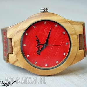 drewniany damski zegarek olive wood diamond woman, zegarek, damski