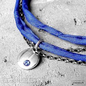 talisman - kobaltowy naszyjnik srebro i cyrkonia, cyrkonia, jedwab, srebrny