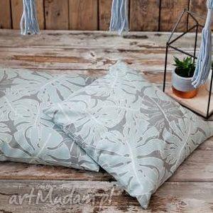 Poszewka mna poduszkę Monstera szaro-turkusowa, monstera, liść, liscie, leaf