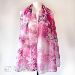 ręczne wykonanie chustki i apaszki szal jedwabny kwiaty wiśni wróble ręcznie