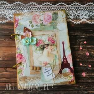 retro sekretnik/ notes w stylu paris, lady, róże, koraliki, pamiętnik, przent