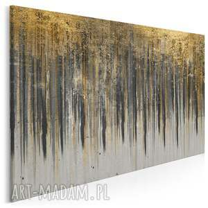 obraz na płótnie - wzór czarny złoty 120x80 cm (90405)