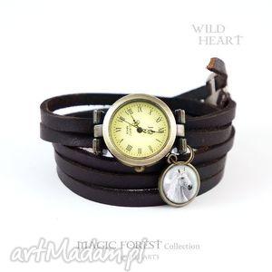 bransoletka, zegarek - biały koń czarny, skórzany, wąski pasek, bransoletka
