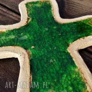 Krzyżyk na ścianę ceramika i szkło 3, krzyż, krzyżyk, fusing, glina, ceramiczny