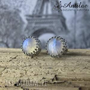 Wkrętki z kamieniem księżycowym, delikatne kolczyki, sztyfty, srebrne kolczyki