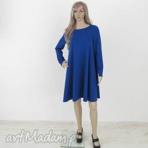 7dł - sukienka w kolorach, sukienka, dzianina, rozkloszowana, trapez, mini, elegancka