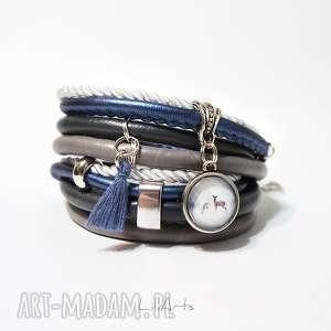 bransoletka - sarenki owijana, niebieska, szara, chwost