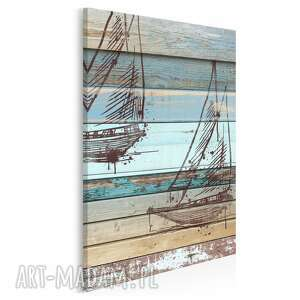 obraz na płótnie - żaglówka deski shabby chic w pionie 50x70 cm 72503