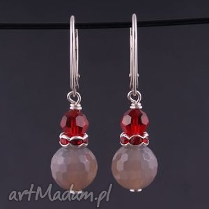 Szaro-rubinowe kolczyki - handmade