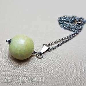 naszyjniki naszyjnik ze srebra i jadeitu 347, srebro, kula, prosty
