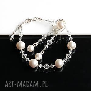 perły swarovskiego - komplet, perły, kryształy, swarovski, srebro, bransoletka