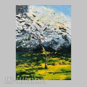 unikalny, wiśnia -obraz olejny, pejzaż, olej, obraz, malarstwo, ręcznie