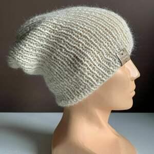 czapki ręcznie robiona czapka hand made ściągacz 100 alpaka ecru