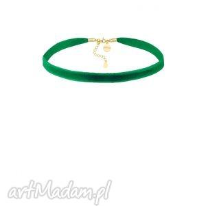 zielony aksamitny choker z regulowanym zapięciem sotho, kobiecy, srebro