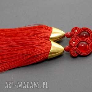 święta prezent, czerwone klipsy sutasz, sznurek, eleganckie, wiszące, wieczorowe