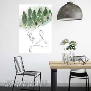 obraz - plakat w głowie mam las 40 x 60, dekoracje, wnętrze, dom, las, linia
