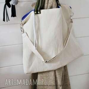 duża bawełniana torba, bawełnian, torebka, zamek, ecru, wózek na ramię